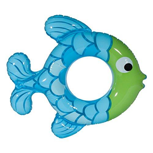 Tropische Aufblasbare Fische (Aufblasbarer Fisch Schwimmring Schwimmreifen Schwimmsitz Badesitz Badehilfe Sitz Schwimmsessel Schwimminsel für Kinder in blau/grün für Pool Meer Badesee ca. 77 x 76)
