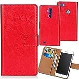 Dingshengk Rot Premium PU Leder Tasche Schutz Hülle Handy Case Wallet Cover Etui Ledertasche Für Maze Blade 4G Phablet 5.5