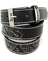 Gürtel Jeans Classic Aufschrift in mehreren Farben 3,7 cm Breit (schwarz bis 160 cm)