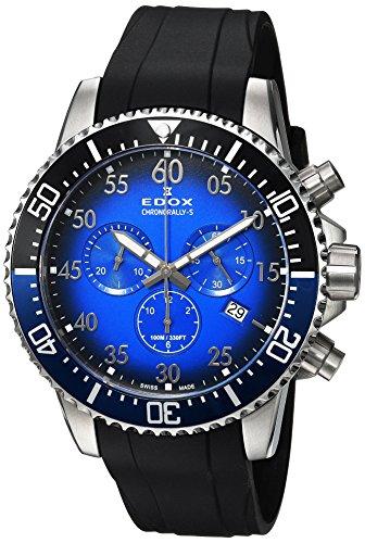 Edox Hommes Chronographe Quartz Montre avec Bracelet en Caoutchouc 10227-3NBUCA-BUBN
