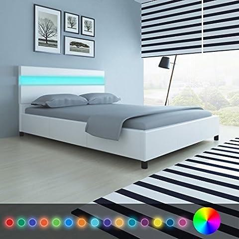 Cama Color Blanco a LED 180x 200cm