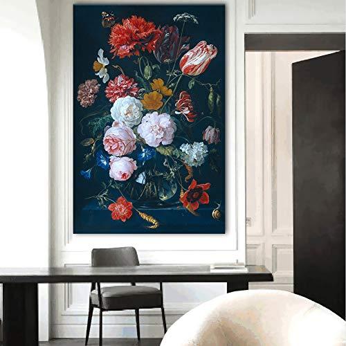 XWArtpic Schöne Bunte Blume Wandkunst Leinwanddruck Stillleben Vintage Blumen Malerei Für Wohnzimmer Wohnkultur Rahmenlose 40 * 60 cm