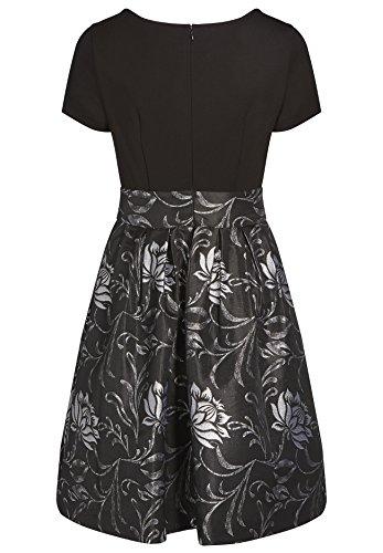 APART Fashion Kleid, Robe Femme Noir - Schwarz (schwarz-silber 0)