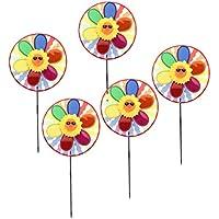 Sharplace 5 Unids Molinillo de Viento de Flor Girasol con 2 Ruedas Multicolor Ornamento para Fiesta