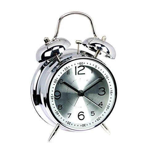 """EgoEra® 4 """"Metal Bell del Gemelo Vintage Reloj Despertador Analogico Silencioso / Despertador Viaje (Plata)"""