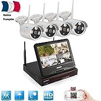 Système de Surveillance sans Fil 4CH WIFI Intégré NVR ÉCRAN 10.1'' 1080P 4 x Caméras IP Etanches IP66 1.0MP Vision Nocturne Grand Angle de Vue Détection de Mouvement Vision à Distance par PC Téléphone