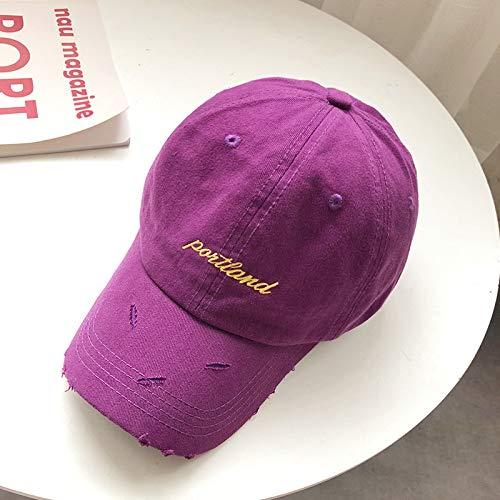 mlpnko Hut weibliche Mode Baseball Cap Wilder Buchstabe gestickte Kappe männlichen Studenten Kappe lila einstellbar -
