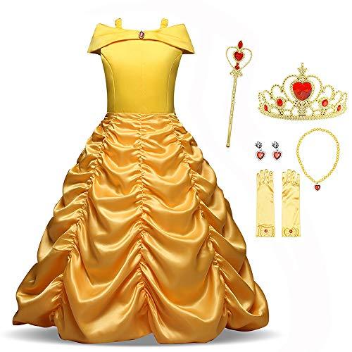 Tee Party Kostüm Prinzessin Kind - cilyberya Prinzessin Belle Mädchen verkleiden Sich Kostüme Fancy Party Dress Kids Halloween Geburtstag Pageant Holiday Karneval Cosplay Kleider