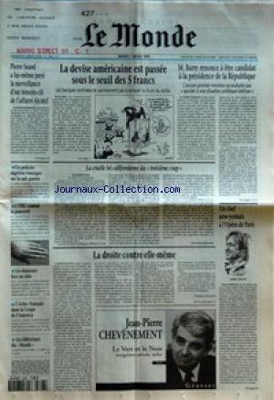 MONDE (LE) [No 15586] du 07/03/1995 - PIERRE SUARD A LUI-MEME PAYE LA SURVEILLANCE D'UN TEMOIN-CLE DE L'AFFAIRE ALCATEL - UN POLICIER ALGERIEN TEMOIGNE SUR LA SALE GUERRE - L'ONU COMBAT LA PAUVRETE - LES DANSEURS FACE AU SIDA - L'ECHEC FRANCAIS DANS LA COUPE DE L'AMERICA - LES EDITORIAUX DU MONDE - LA DEVISE AMERICAINE EST PASSEE SOUS LE SEUIL DES 5 FRANCS - LA CRUELLE LOI CALIFORNIENNE DU TROISIEME COUP PAR SYLVIE KAUFFMANN - LA DROITE CONTRE ELLE-MEME PAR THOMAS FERENCZI - LE VERT