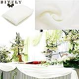 BITFLY 5M x 1.35M Sheer Organza Swag DIY Tela de la boda de la tapa de la tabla de eventos Decoración Partido Escalera arco Valance tabla falda - 30 colores disponibles Blanco
