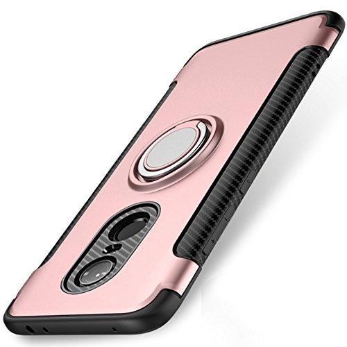 Redmi 5 Plus Hülle, WindCase 360 Grad drehbarer Ring Halter Ständer Dual Layer Stoßfest Schutzhülle Kompatibel mit Magnetic Car Mount Fall für Xiaomi Redmi 5 Plus Roségold (Dual-ring-mount)
