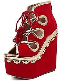 86da3aa985f HETAO Personalidad Womens Peep Toe Ankle Strap Wedge Corte Zapatos TamañO  De Las Damas Red Moda Sexy Pescado Boca TacóN Alto…