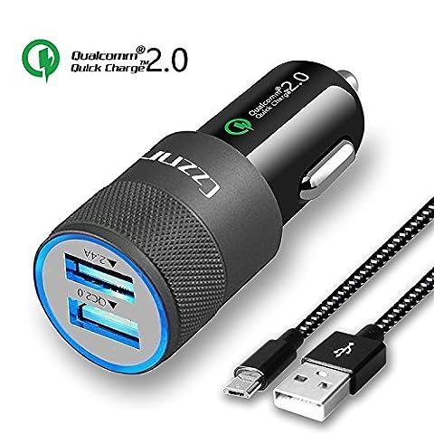 Car Charger,Czznn QC 2.0 2.4A Dual USB Car Adaptor iSmart