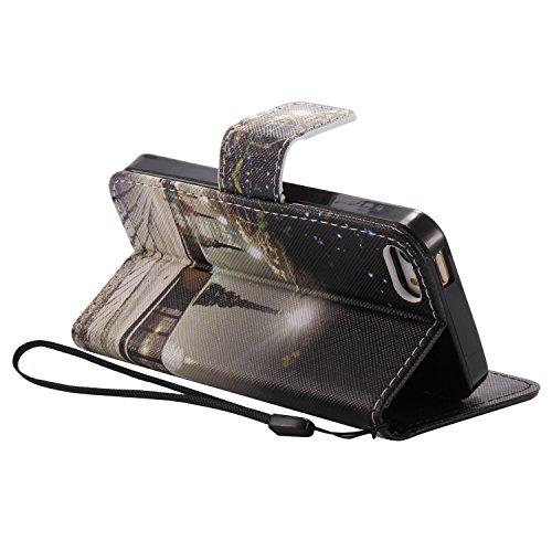 PU Coque Cuir iPhone 5 / 5s / SE, Fermeture Aimantée de Motif Imprimé Étui Housse en Cuir Ultra-mince Avec La Fonction Stand pour Apple iPhone 5 / 5s / SE Étui +Bouchons de poussière (5EE) 3