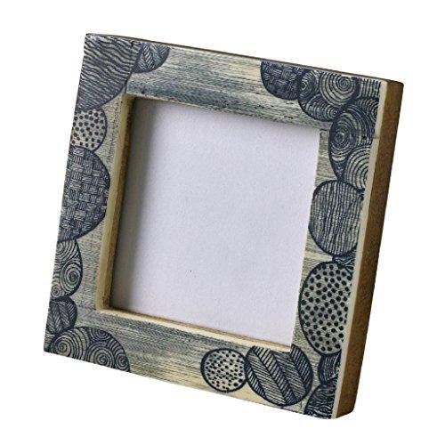Time Concept Bilderrahmen, antikes Design, Büffelknochen, Glas Square Square Mini Photo Frame Circle - 2.36