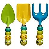 Prextex Kinder 3PC Garten Werkzeug Set enthält 3 Gartengeräte mit niedlichen Käfern als Werkzeug Griffe