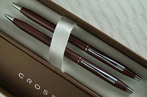 Cross Made in the USA Classic Century Satin Matte Burgundy and Polished Chrome Pen & 0.5mm Pencil Set by A .T CROSS COMPANY - Cross Usa Century