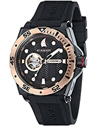 Spinnaker Overboard 1000m Helium Release Water Resistant Diver Men's Automatic Watch with Black Dial Display on Black Silicon Strap SP-5023-08
