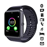 LaTEC Montre Bluetooth 1.54' avec Camera, Sim with Camera SIM & emplacement carte SD Podometre Ecran LCD Tactile Montre Connectée pour Smartphones Android (Noir)