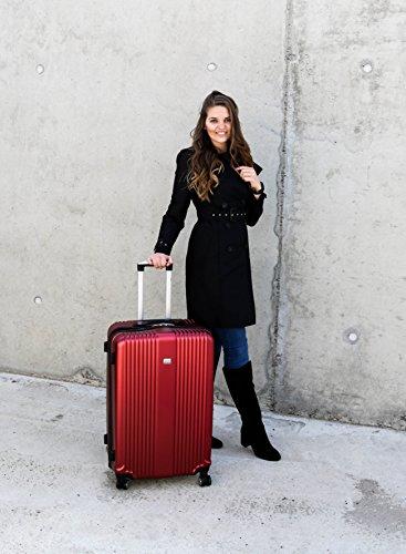 PURE Koffer SENSATION / Reisekoffer / Hartschale / Trolley / robustes PET / 4 Rollen / TSA Zahlenschloss (rot, S) - 3