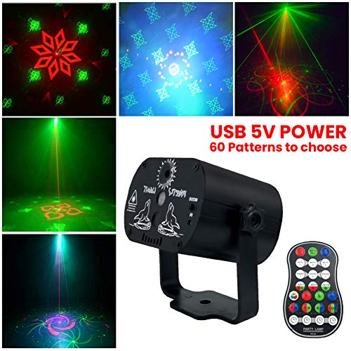Globents 60 in1 Patterns Stage Lights Party Lights DJ Disco USB Led Projector Karaoke Strobe Perform for Stage Lighting with Remote Control for Dancing Thanksgiving KTV Bar Birthday Outdoor (Outdoor Light Remote)