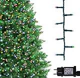 Luci natalizie per interni e esterno 1000 LED albero luci Multi colore, 8 modalità con memoria e funzione timer, alimentate, trasformatore incluso 25m Lunghezza illuminata- CAVO VERDE