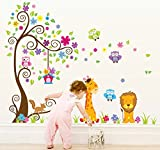 #6: Oren Empower (2pc/Set) Jungle Animals Wall Stickers for kids (Finished size on wall - 180(w) x 150(h) cm)