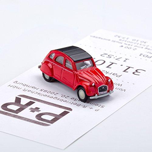 Preisvergleich Produktbild corpus delicti Magnetischer Parkscheinhalter für das Armaturenbrett – Modellauto mit Magnet und selbstklebender Haftscheibe – Kultauto Citroën 2CV rot