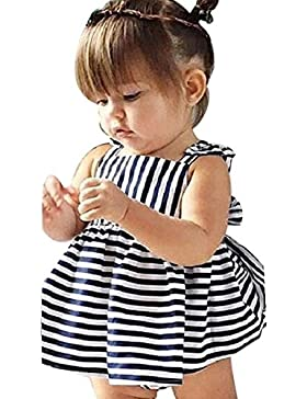 Vestido de niña, RETUROM Vestido Backless de la vendimia del verano de la raya del verano