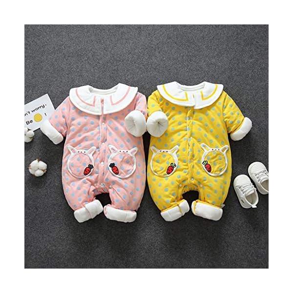 Recién Nacido Mono Invierno Moda Niñito Bebé Niños niñas Calentar Labor de Retazos Mameluco del Lunar Mono Conejo… 2