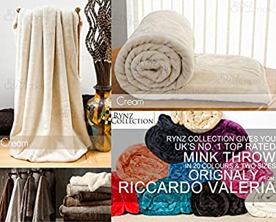 Mink Faux Fur Throw 13 Colours , Large & Xtra Large 2-3 Seater Sofa / Bed Blanket - By Rynz Collection(TM) - inexpensive UK light shop.