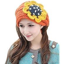 Invierno cálido electek TININNA diadema de punto de la flor de la Mantón OSFM tejidos de punto bufandas de cuello orejeras para mujeres globalpowder