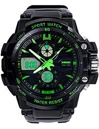 Reloj doble / deportes al aire libre de los hombres / reloj electrónico impermeable de la montaña / reloj multi-función del salto , large green