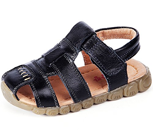 Femizee Boys Girls Closed Toe Casual Outdoor Sandal, Black, 12.5 UK Child