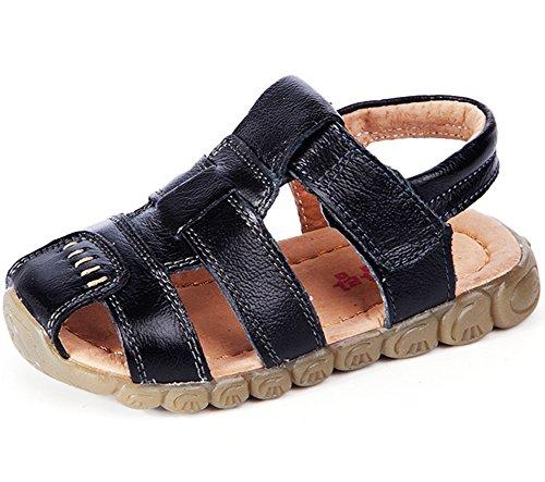 Femizee Boys Girls Closed Toe Casual Outdoor Sandal, Black, 12.5 UK Child