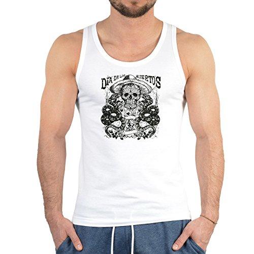 Herren Tank Top mit Totenkopf - Dia de los Muertos, der Tag der Toten - Cooles Trägershirt, Muskelshirt Weiß