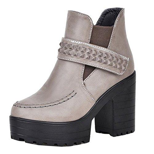 TAOFFEN Damen Classical Rome Herbst Blockabsatz Kurze Stiefel Grau