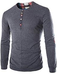 CHENGYANG Camisetas Henley Patchwork Slim Fit Cuello redondo botones Camiseta de manga larga Hombres