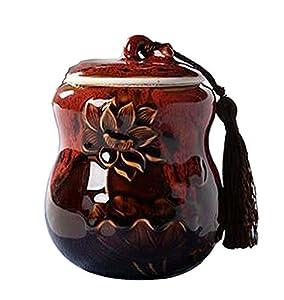 [Lotus Red] Boîte à thé en céramique Boîtes à café Spice Jar Tea Caddy