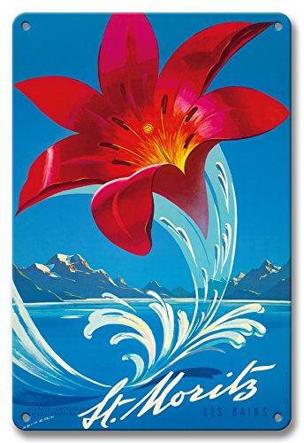 Pacifica Island Art 22cm x 30cm Vintage Metallschild - St. Moritz Les Bain - Schweiz, Schweiz, Suisse, Svizzera - Rote Lilie - Vintage Retro Welt Reise Plakat von Martin Peikert c.1958 -