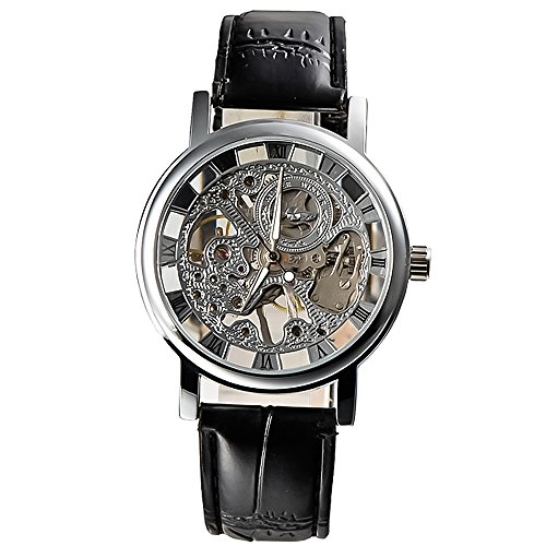 Herren-Gewinner * Hot Sell 2013 * Edelstahl versilbert Skeleton Zifferblatt Mechanische Hand-Wind Luxury schwarzes Lederarmband Armbanduhr