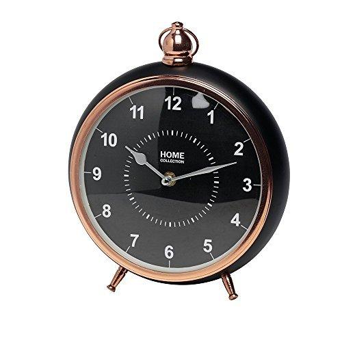 DRULINE HOME COLLECTION Ø 22cm, H: 26cm Bronze/Schwarz Tischuhr Antik Vintage Retro Metall Standuhr Uhr Kaminuhr