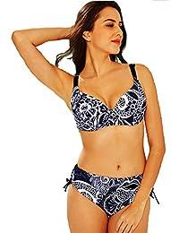 Maillot de Bain Femme 2 Pièces Bikini Grande Taille Armatures - Culotte Réglable