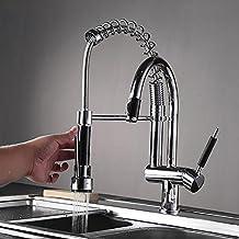 EQ Spring Style Kitchen Faucet Hand Spray Chrome Cast Cubierta montada de 3 funciones de salida de agua giratoria cocina fregadero mezclador
