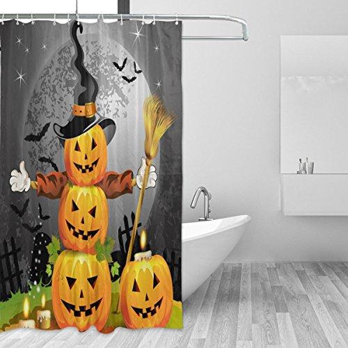 Duschvorhänge Schimmelresistent Wasserdicht Form Halloween Kürbis Deko Thema waschbar Bad Vorhang mit Robuste Haken für Badezimmer Zubehör 167,6x 182,9cm (168cm x 183cm)