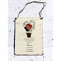 Idea regalo festa della Mamma : Targa in legno personalizzata con nome e dedica