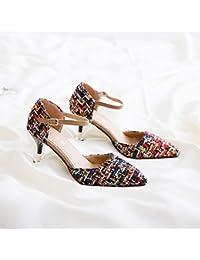 Punta Del High-Heel singles femeninos Zapatos Zapatos compacto y elegante y versátil, Gris de 7 cm 35