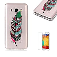 For Samsung Galaxy J710/J7 2016 Case [with Free Screen Protector],Funyye Fashion lovely Lightweight Ultra Slim Anti Scratch Transparent Soft Gel Silicone TPU Bumper Protective Case Cover Shell for Samsung Galaxy J710/J7 2016 - Feather