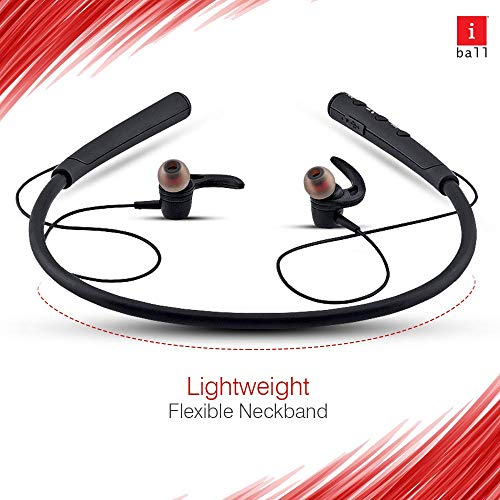 iBall EarWear Base BT 5.0 Neckband Earphone with Mic and 12 Hours Battery Life (Black) Image 2