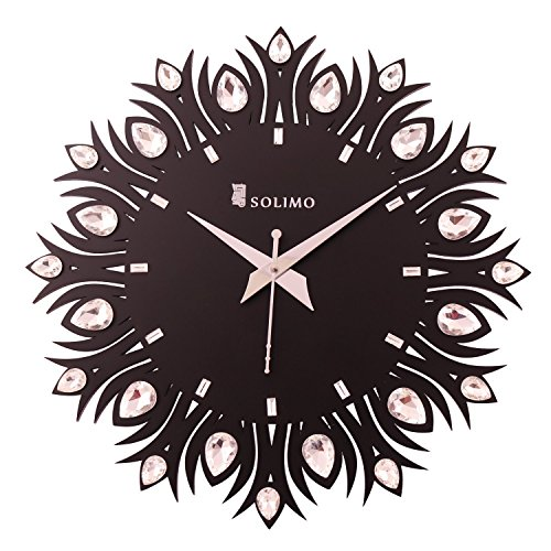 Amazon Brand - Solimo 11.25-inch Wooden Wall Clock - Embellished Leaf (Silent...
